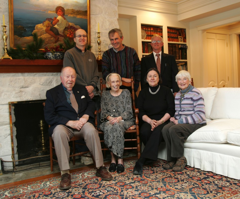 Robert Mitchell photo of some of the Coastal Maine Botanical Gardens Founders, bottom left to right: Ernie Egan, Alice West, Donna Phinney, Maggie Rogers. Top row: Greg Bond, Robert Boyd, Rollins Hale