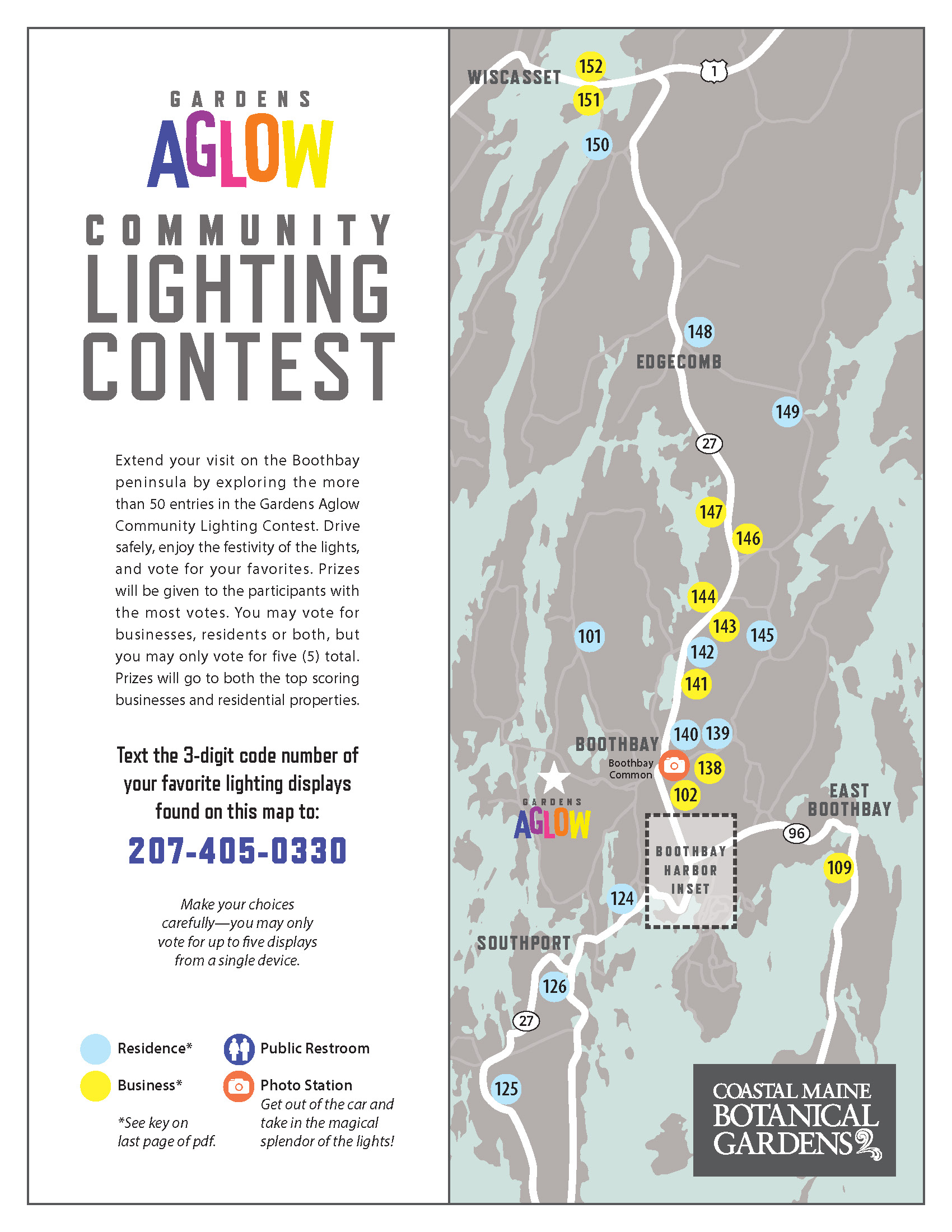 Community Lighting Contest Map. Text 207-405-0330 with the 3-digit code of your favorites to vote.