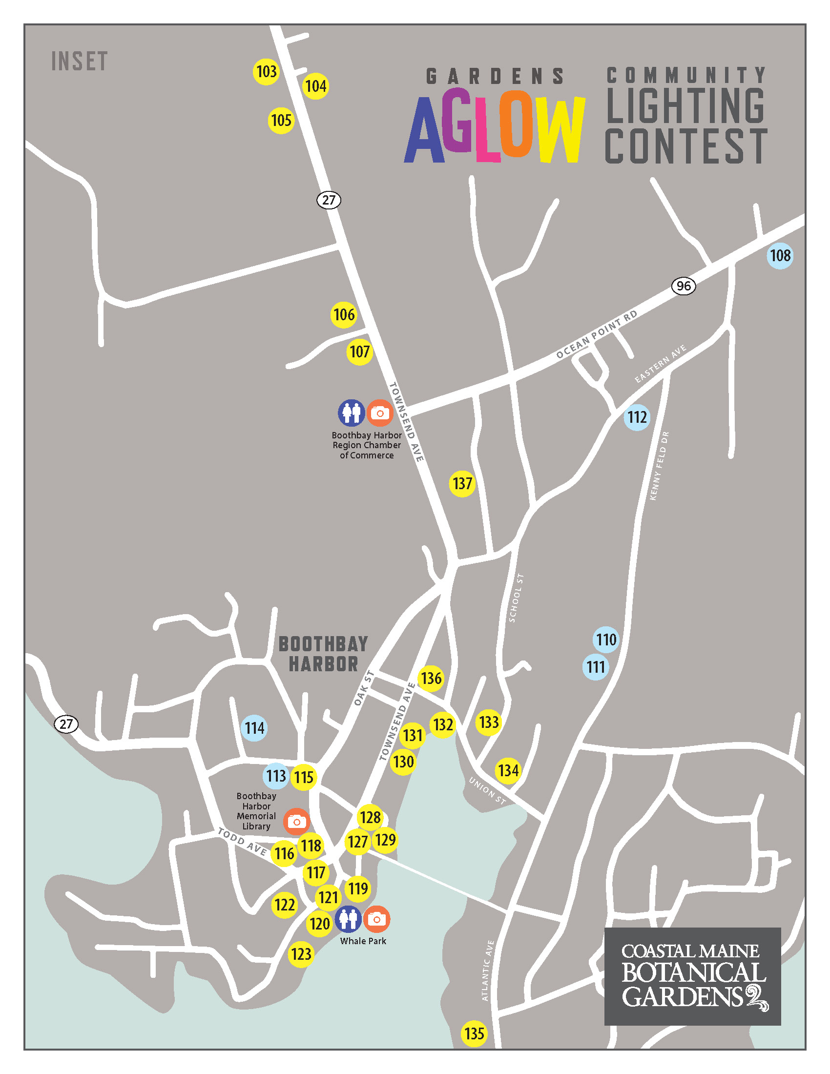 Community Lighting Contest Map of downtown Boothbay Harbor.