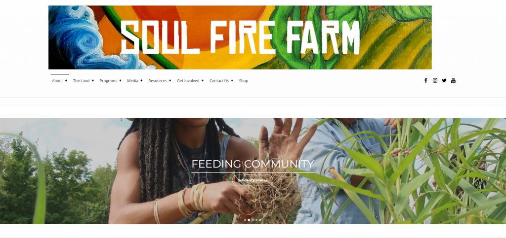 Screenshot of the Soul Fire Farm website.
