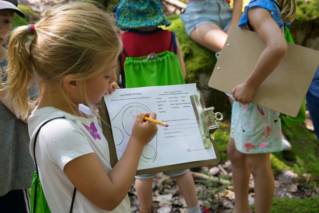 A young girl with a clipboard in the forest, filling out information for class.